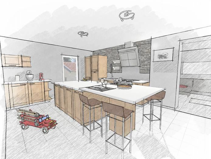 crayonné architecte kodes3d cuisine